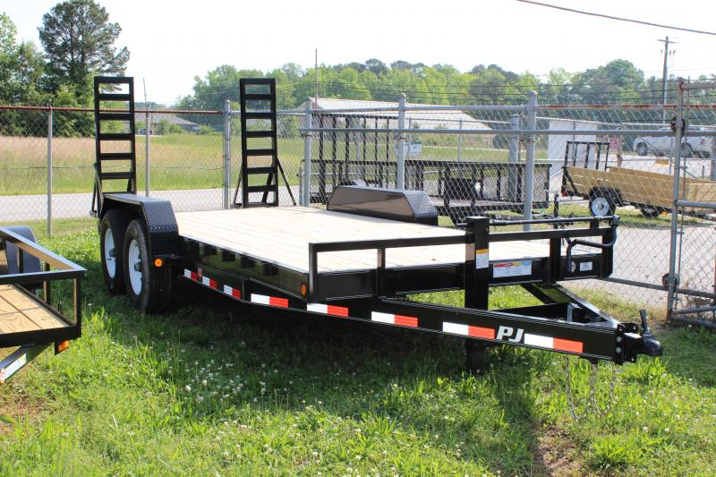 PJ TRAILERS 7X18 CHANNEL EQUIPMENT VIN#4P5CC1821D3002768  2-7000# AXLES 2' DOVETAIL 5' FOLD OUT RAMPS