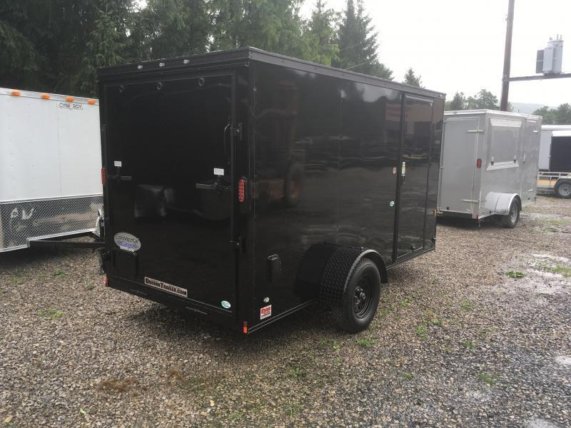 2018 Continental Cargo 6x12 V-Nose Black Out Side Door Ramp Door Enclosed Cargo Trailer