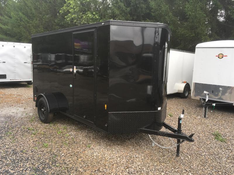 2018 Continental Cargo 6x12 V-Nose Black Out Side Door Ramp Door Enclosed Cargo Trailer