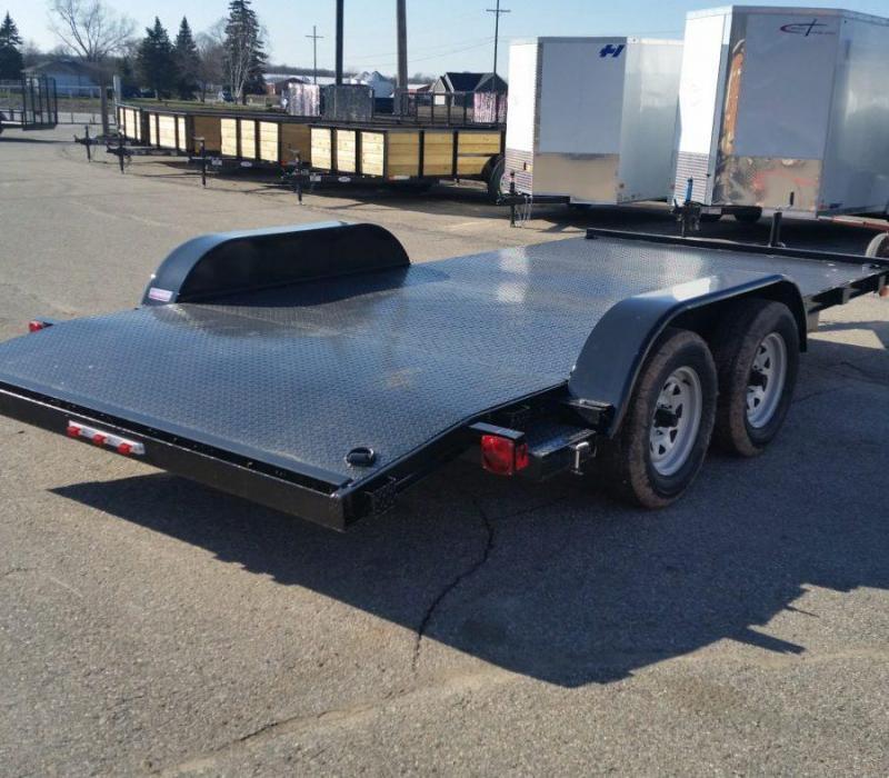 16ft Steel Deck Car Hauler w/ 1 Axle Brake