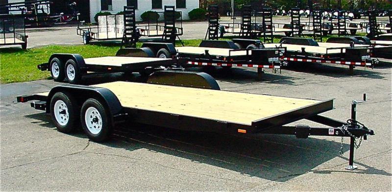 16ft Wood Deck Car Hauler Trailer w/ 2 Axle Brake