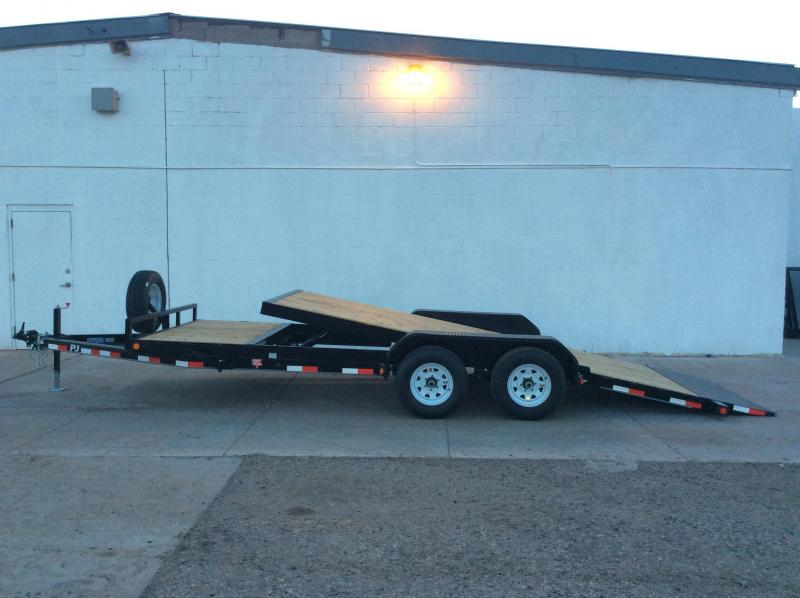 "2019 PJ Trailers 20' x 5"" Channel Tilt Carhauler Trailer"