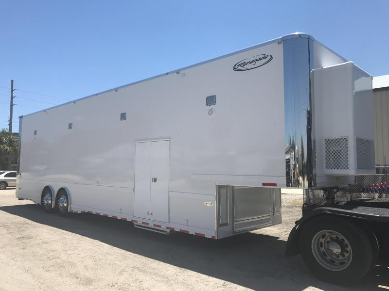 2018 Renegade 44' Hydraulic Screw Lift Gate Gooseneck 2-14K ASI Air Ride Axle Stacker Trailer White