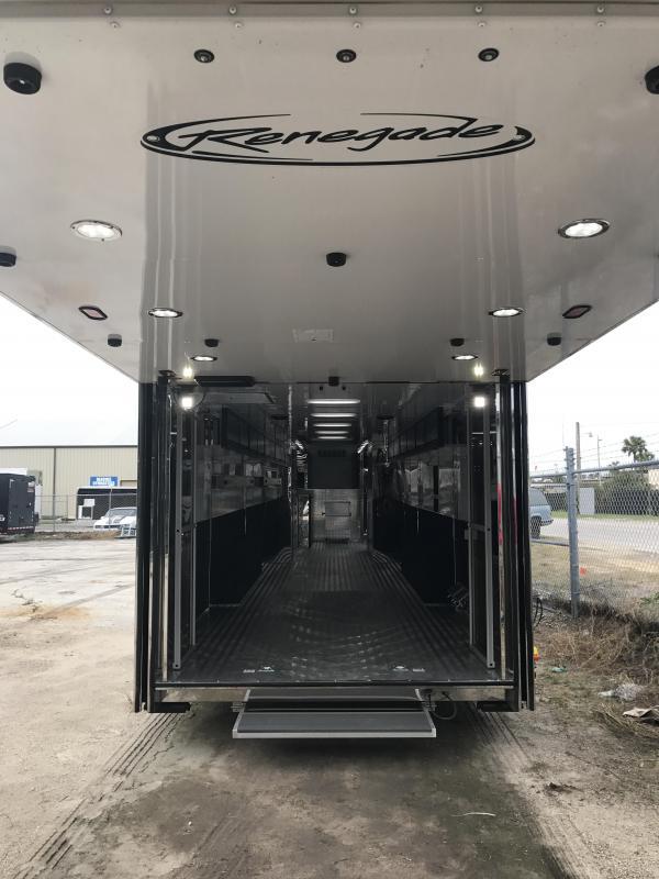 2018 Renegade 44' Hydraulic Screw Lift Gate Gooseneck 2-14K ASI Air Ride Axle Stacker Trailer White