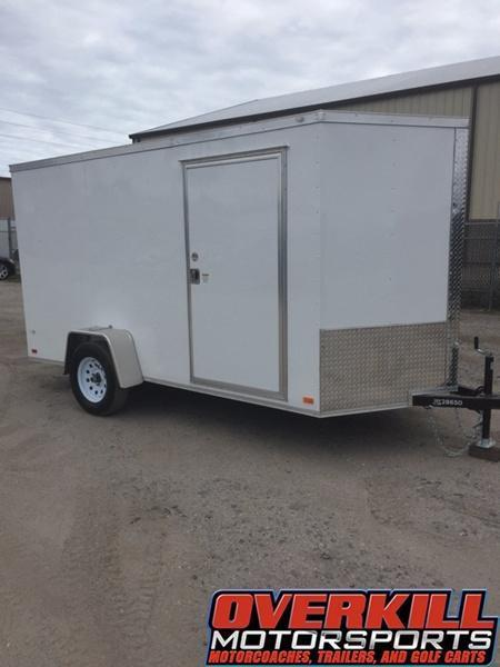 2018 Covered Wagon 6X12 V-Nose Single Axle Enclosed Trailer White