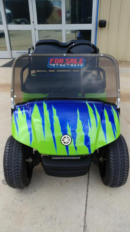 2015 Yamaha Drive Gas Golf Cart Carbureted 4-Passenger Green and Blue