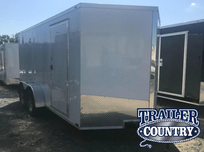 7x14 Enclosed Cargo Trailer-Ramp Door-White