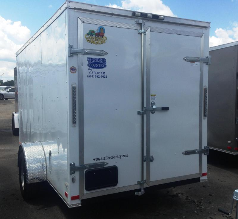 6x12 Enclosed Cargo Trailer-Double Doors-White-CLEARANCE