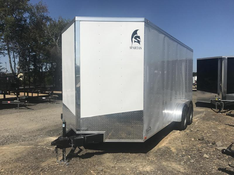 7x16 Enclosed Cargo Trailer-7' Height-White-Ramp