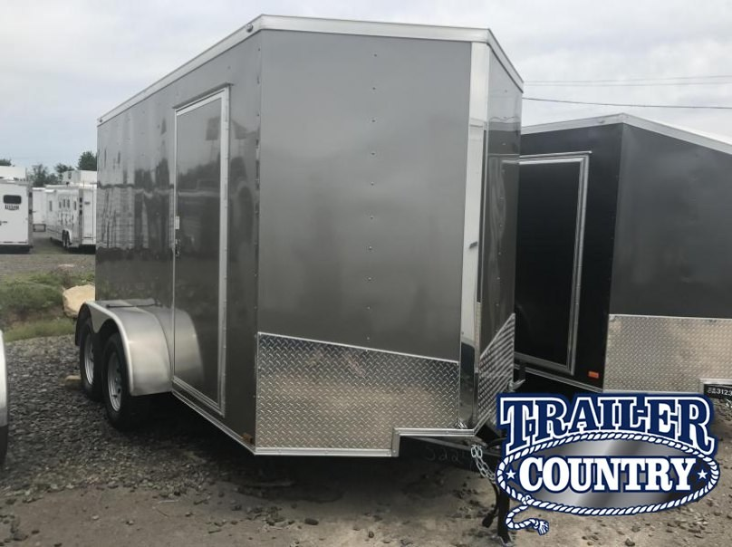 """6x12 Tandem Axle Enclosed Cargo Trailer-Pewter-6'6"""" Height-Ramp-CLEARANCE"""