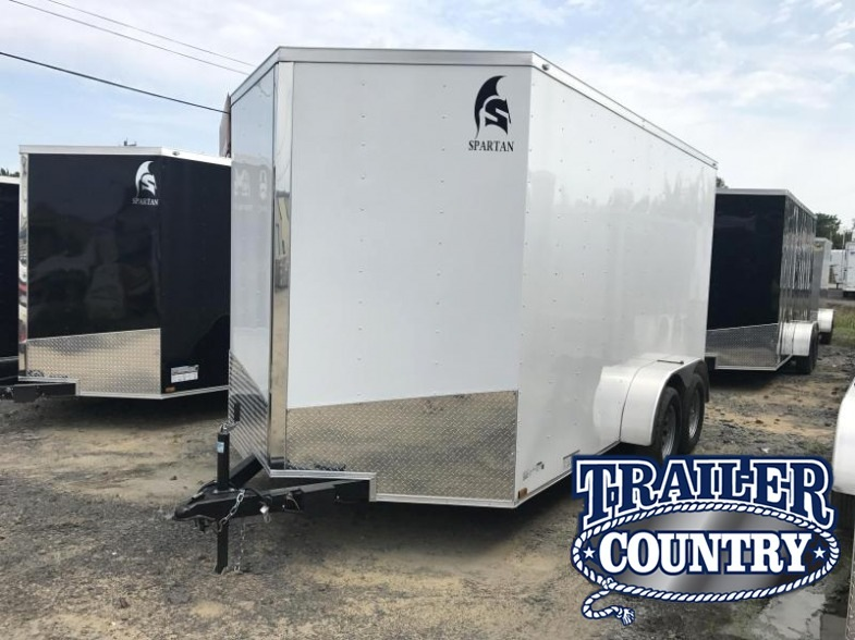7x14 Enclosed Cargo Trailer-Ramp Door-White-7' Height