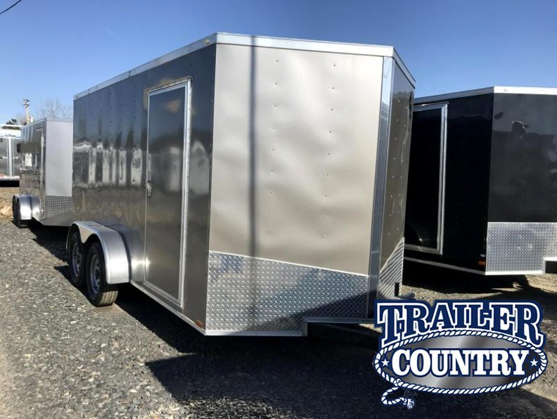 "7x14 Enclosed Cargo Trailer-6'6"" Height-Pewter-Ramp"
