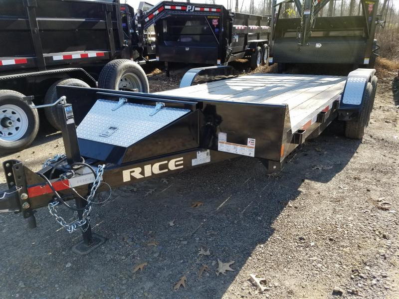 USED 83x18 Rice Carhauler-5200lb Axles-Rear Slide in Ramps Toolboxc