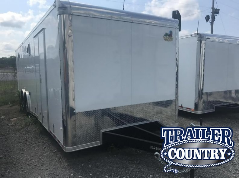 8.5x28 Enclosed Race Car Trailer-White-FULLY LOADED
