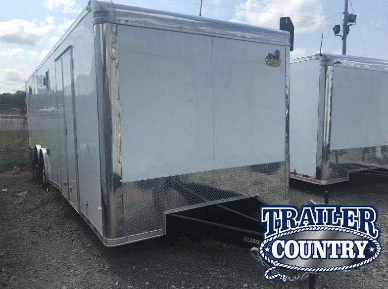 8.5x28 Enclosed Race Car Trailer-White-FULLY LOADED-CLEARANCE