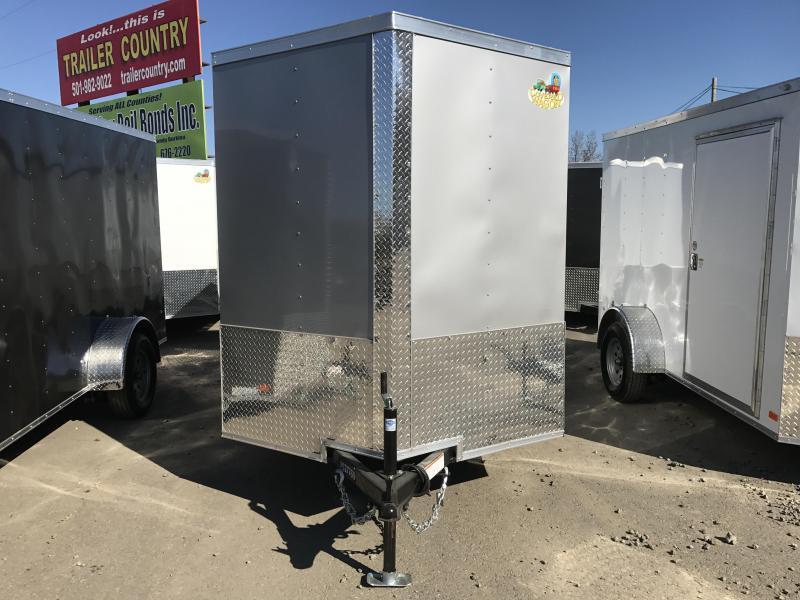 6x12 Enclosed Cargo Trailer-Ramp-Silver