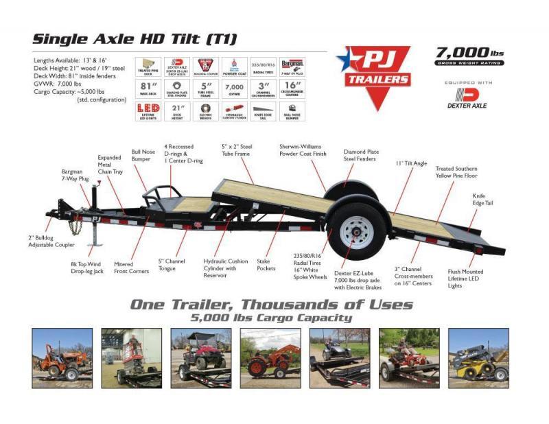 16' PJ Single Axle HD Equipment Tilt Trailer