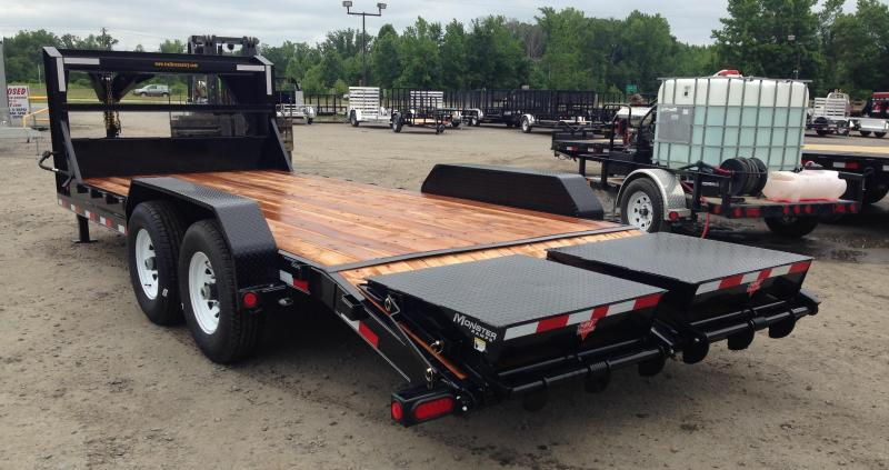 83x20 PJ Gooseneck Equipment Trailer-Monster Ramps