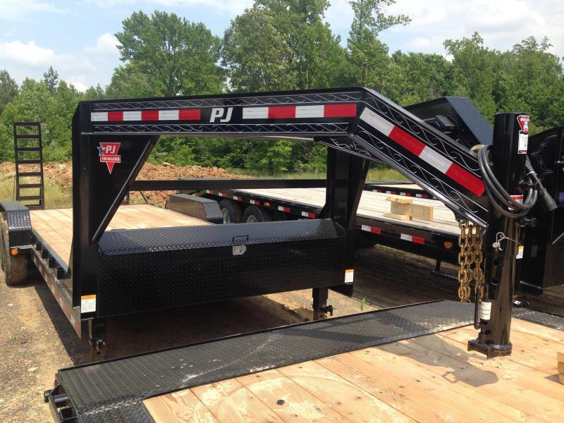 83x20 PJ Gooseneck Equipment Trailer-Fold Up Ramps