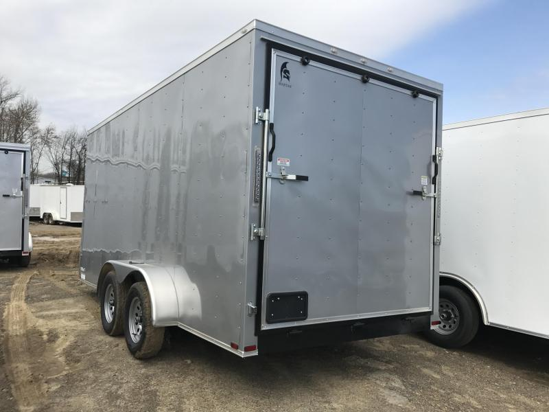 7x16 Enclosed Cargo Trailer-7' Height-Silver-Ramp