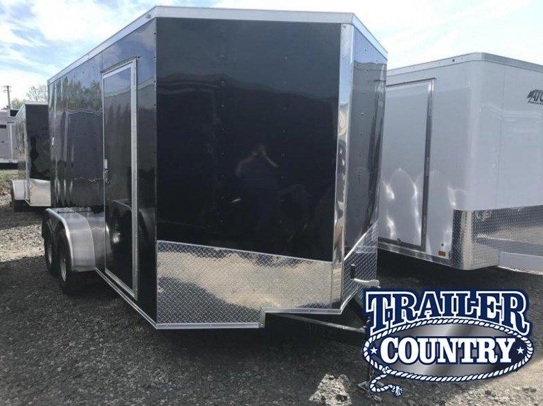 """7x14 Enclosed Cargo Trailer-Ramp Door-Black-6'6"""" Height"""