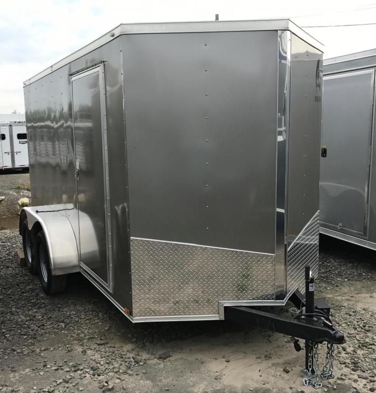 6x12 Tandem Axle Enclosed Cargo Trailer-Pewter-Ramp Door