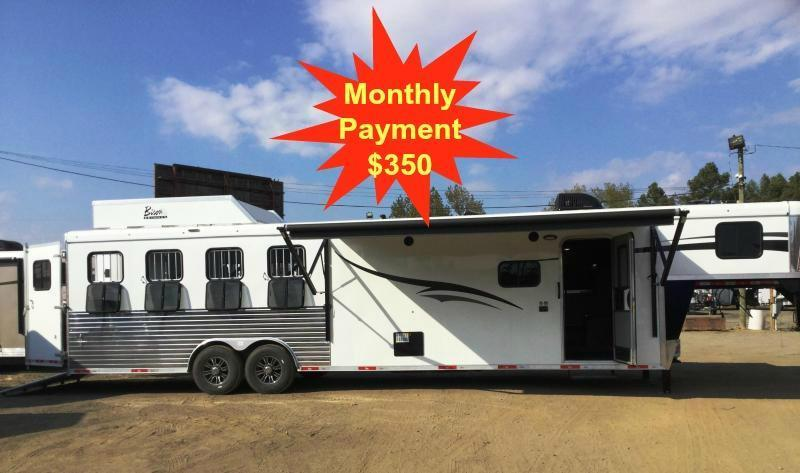2017 Bison 8412RGGB Ranger 4 Horse Living Quarters Trailer 12' SHORTWALL WITH SLIDE OUT