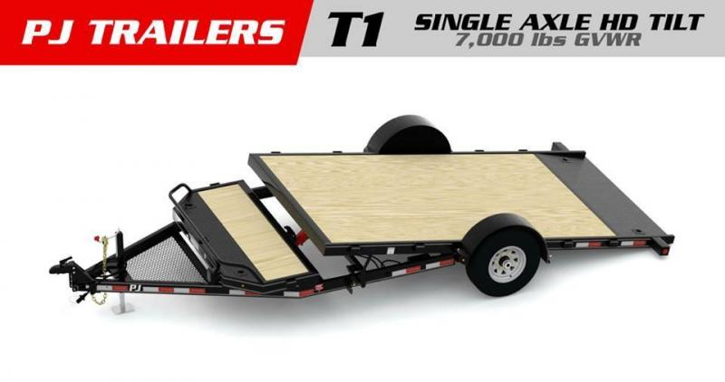 13' PJ Single Axle Heavy Duty Tilt Trailer-Steel Floor