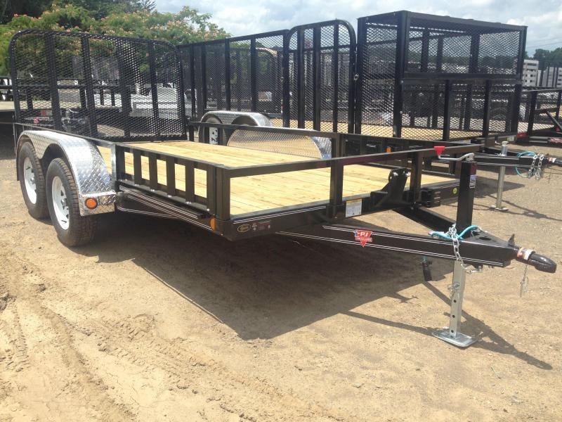 83x14 PJ Tandem Utility Trailer-Rear Gate-Side Ramps