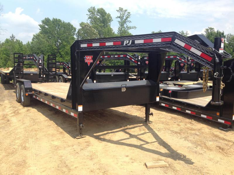 83x24 PJ Gooseneck Equipment Trailer-Fold Up Ramps