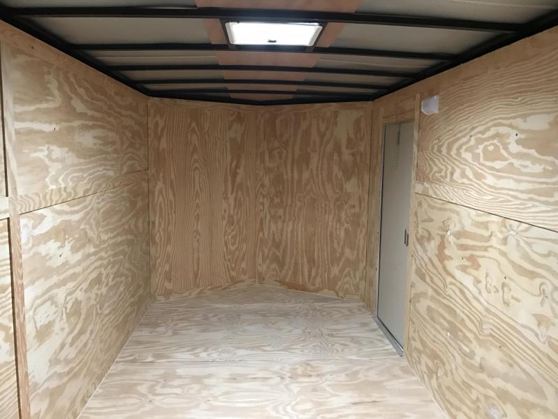 "7x16 Enclosed Cargo Trailer-Ramp-Black-6'6"" Height"