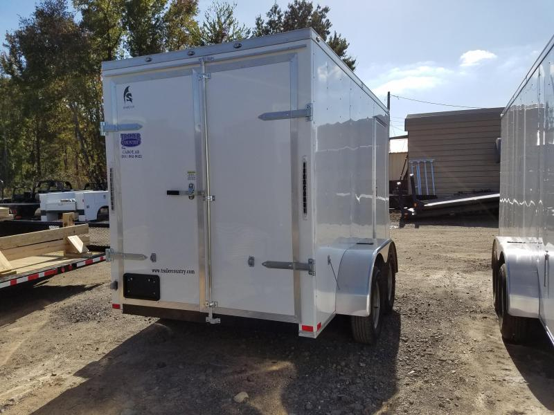 """6x12 Enclosed Cargo Trailer-Double Doors-White-6'6"""" Height"""
