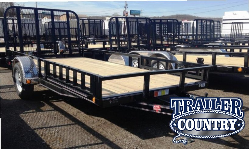 77x14 PJ Utility Trailer Side Ramps Rear Gate-CLEARANCE