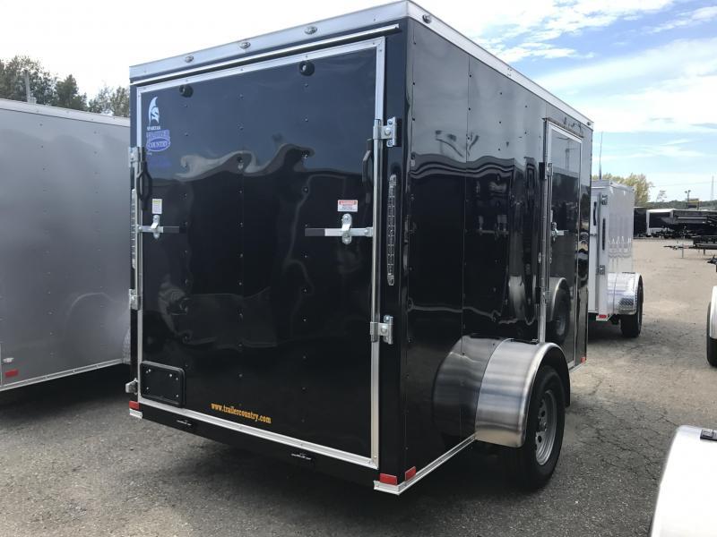 6x10 Enclosed Cargo Trailer-Black-Ramp Door