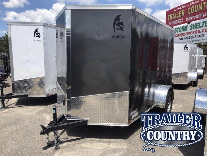 6x10 Enclosed Cargo Trailer-Charcoal-Ramp Door