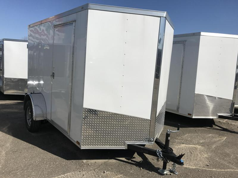 6x10 Enclosed Cargo Trailer-Double Doors-White