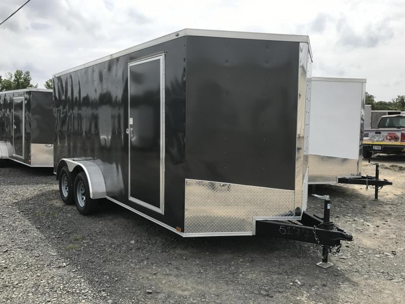 7x16 Enclosed Cargo Trailer-Charcoal-Ramp