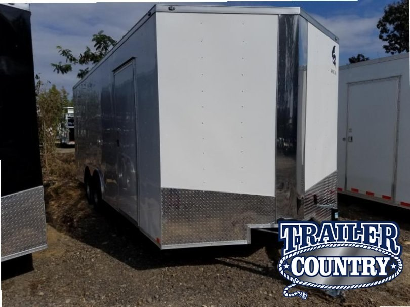 8.5x20 Enclosed Cargo Trailer-7'Height-Ramp Door-White