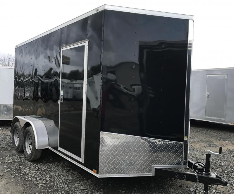 7x14 Enclosed Cargo Trailer-Ramp-Black-7' Height