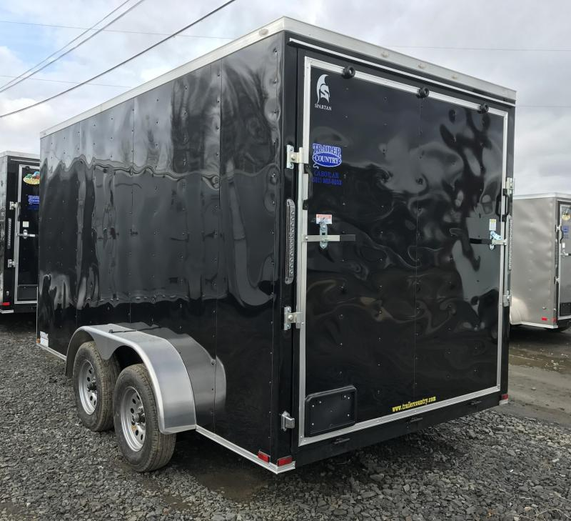 7x14 Enclosed Cargo Trailer-Ramp-Black-7' Height-CLEARANCE