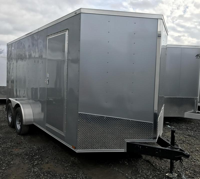 "7x16 Enclosed Cargo Trailer-Ramp-Silver-6'6"" Height"