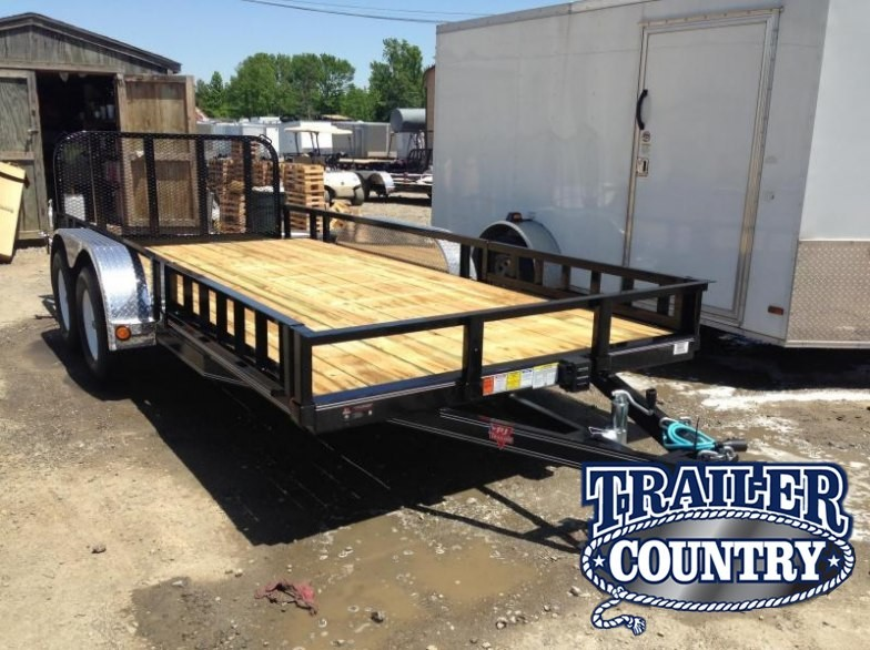 77x16 PJ Utility Trailer Dovetail-Rear Gate-Side Ramps