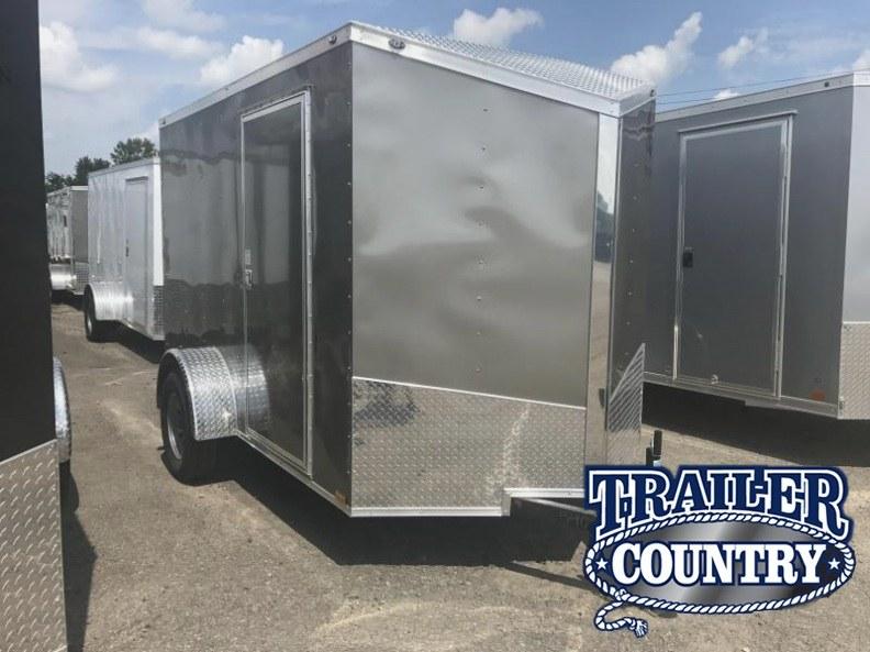 6x10 Enclosed Cargo Trailer-Pewter-Ramp Door