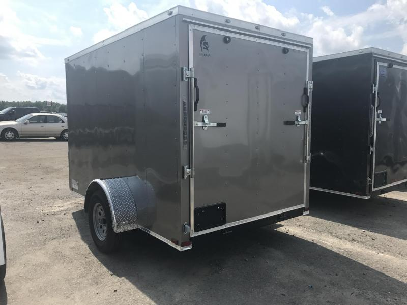 6x10 Enclosed Cargo Trailer-Pewter-Ramp Door-CLEARANCE