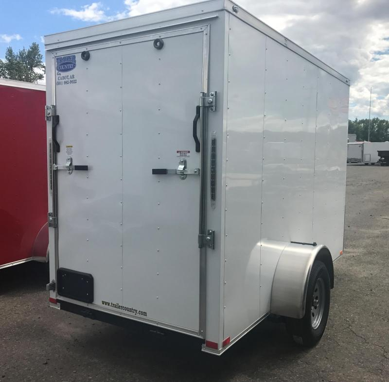 5x10 Enclosed Cargo Trailer-White-Ramp-CLEARANCE