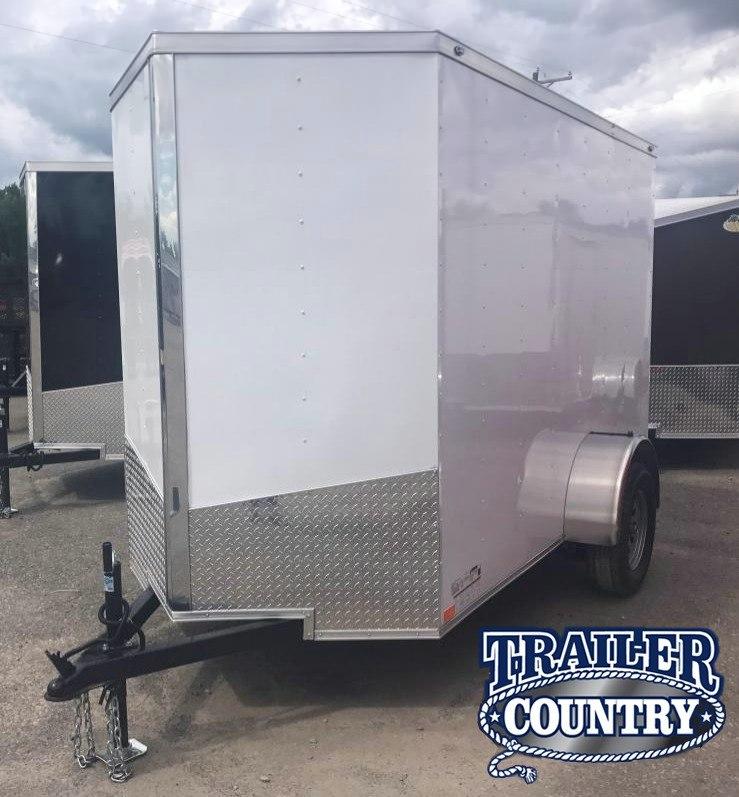 5x10 Enclosed Cargo Trailer-White-Ramp