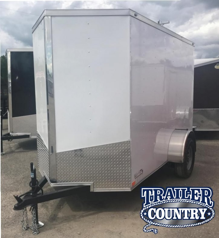 5x10 Enclosed Cargo Trailer-White-Ramp