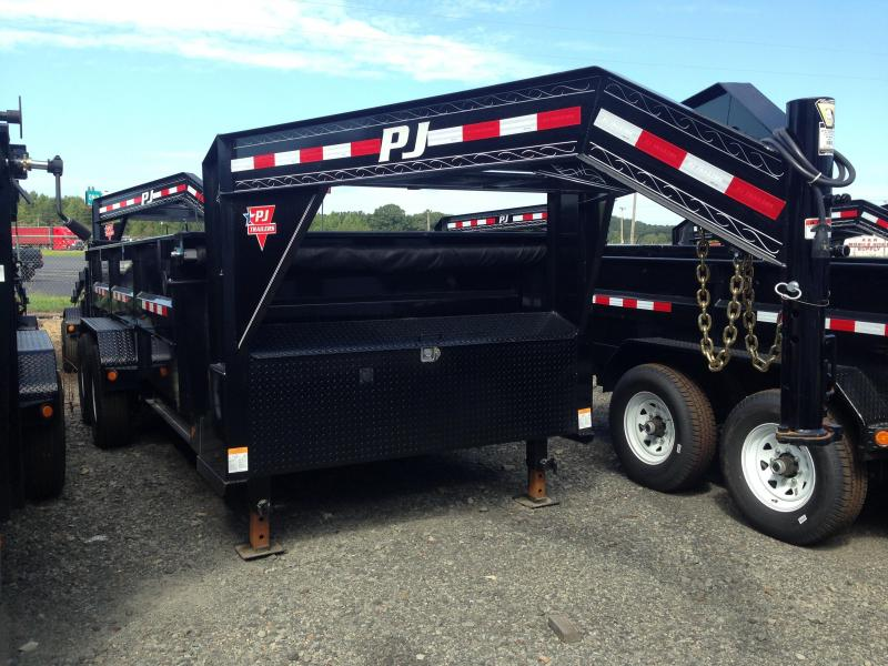 83x16 PJ Gooseneck Lo Pro High Side Dump Trailer-Tarp-3' Sides