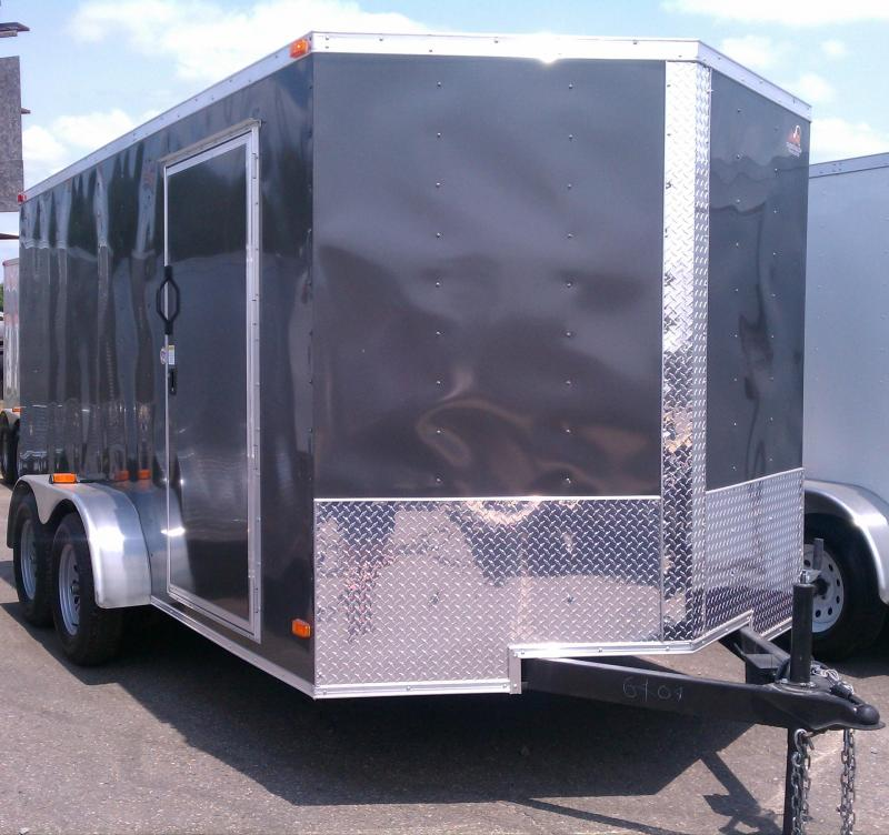 7x16 Enclosed Cargo Trailer-Ramp-Charcoal