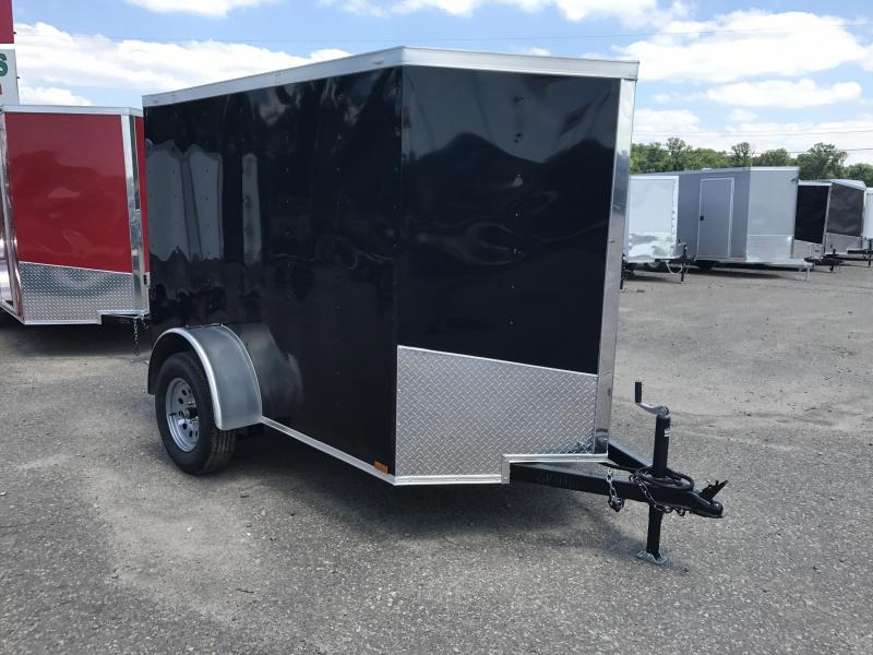 5x8 Enclosed Cargo Trailer-Ramp-Black